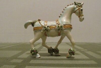 "Enameled Christmas White Horse Trinket Box W/ Crystals 3 1/3"" Tall"