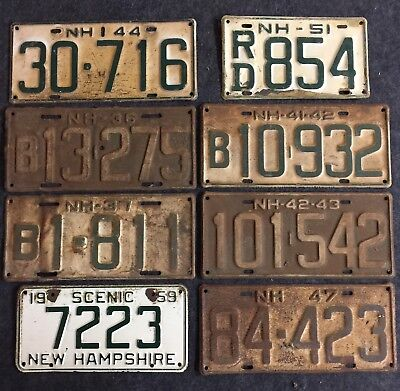 8 Rusty New Hampshire License Plate Lot Plates Tags NH Great Wall Art