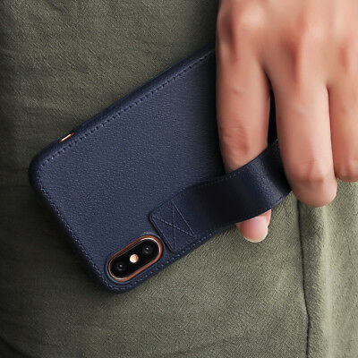 For iPhone X 8 7 Plus Vintage Ultra Thin Flexible Ring Stand Case Leather Cover