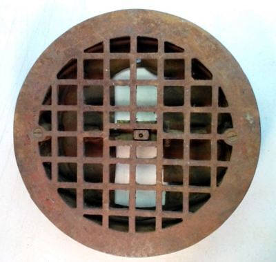 "Antique Iron Heat Grate Round Floor Register Victorian 9.25"" missing 1 louver"