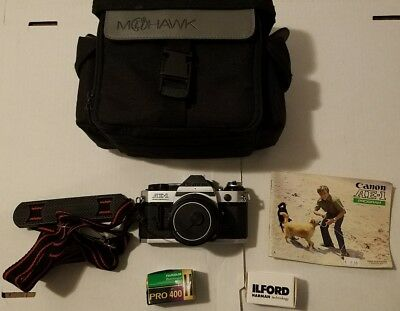 Canon AE-1 35mm SLR Film Camera with lens, Strap, Clean, Manual, Film TESTED!