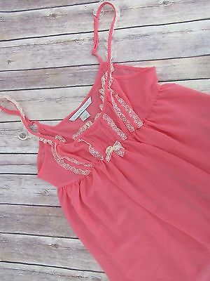 Victorias Secret Womens Pink Lace Camisole Sheer Nightie Lingerie Top Size M