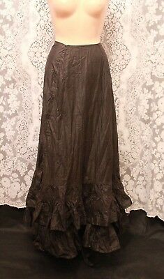Antique Victorian Skirt Black Polished Cotton Ruffled Goth Mourning Steam Punk