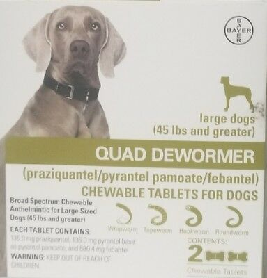 NEW Bayer Quad Dewormer For Large Dogs 45 Pounds Or Greater - Exp December 2019