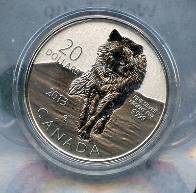 """Weeda Canada $20 for $20 Dollar Proof .9999 Fine Silver Coin 2013 """"Wolf"""" issue"""