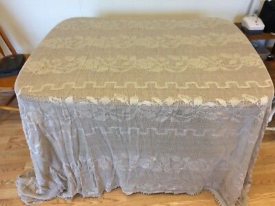 Vintage Ecru Tan Cotton Lace Bedspread Coverlet Bed Spread 104 x 94  King Queen