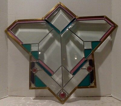"Leaded Glass Hanging Panel Gorgeous Condition 23"" X 20 1/2"""