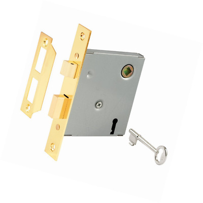 Prime-Line E 2294 Vintage Style Mortise Lock Assembly, 5-1/2 in. Face Plate, Bra