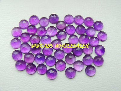 Amethyst Cabs AMETHYST Rose Cut Round Cabochons 6 MM 10 PCS Loose Gemstone