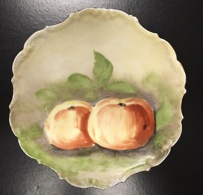 Antique Limoges France French Porcelain Flambeau Ldbc Hand Painted Peach Plate