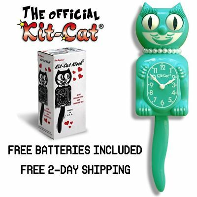 """EMERALD GREEN LADY KIT CAT CLOCK 15.5"""" Free Battery LIMITED EDITION Retro Teal"""