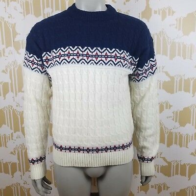 Vintage 70's 80's JCPenny Men's XL Cable Knited Pull Over Crewneck Sweater