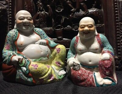 Two Of Porcelain Chinese Antique Happy Buddhas It Marked Asian China