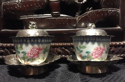 A Pair Of Porcelain Cups W/ Old Chinese Sterling Silver Antique Asian China