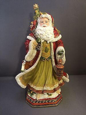 "Fitz And Floyd Damask Holiday Santa 9"" Musical Music Box O Come All Ye Faithful"