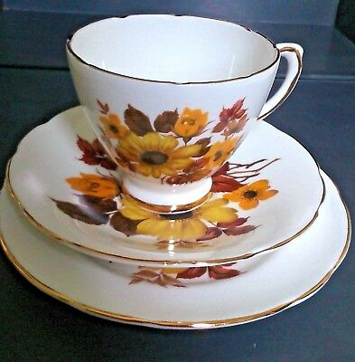 4 X Royal Sutherland Perfect Yellow Floral Bone China Cups Saucers & Plates Exc!