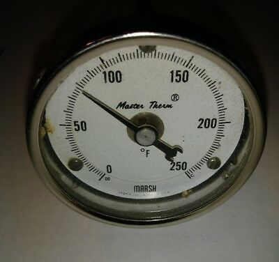 Vintage industrial MARSH mountable portable temperature gauge Thermometer Great