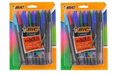 Bic Cristal Extra Bold Large Point 1.6 mm Pens, Assorted Ink Colors, 24-Pack