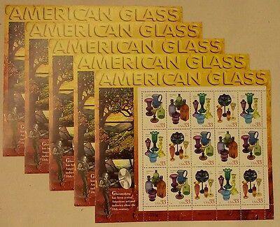 Five Souvenir Sheets x 15 = 75 Of AMERICAN GLASS 33¢ US PS Stamps Sc # 3325-3328