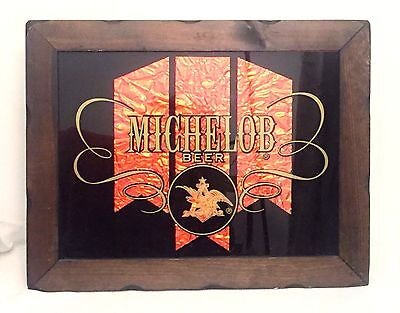 """Old MICHELOB BEER 17"""" Behind The Bar Mirror Ad Sign Man cave FRAMED Dark Wood"""