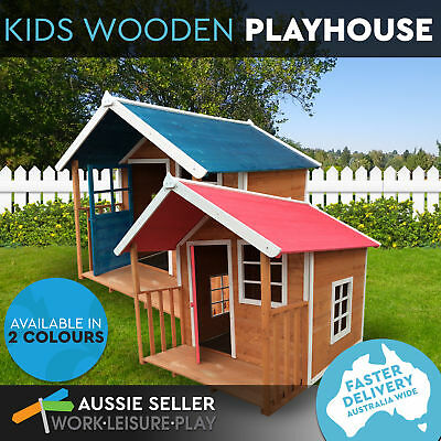 Deluxe Cubby Wooden Outdoor Kids Playhouse Ultra durable with Veranda 2 Colours