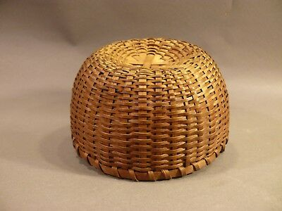 Fine 19thC Antique Shaker Splint Basket Very TIGHT & Well Made. Rare Small Size