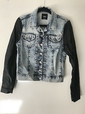Sportsgirl Denim Jacket With Leather Sleeves