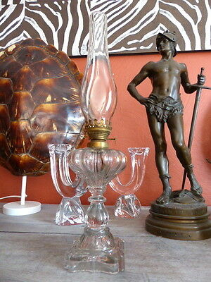 Superb antique French Oil Lamp Moulded glass & Brass Complete 1900 Original