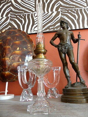 Superb antique French Oil Lamp Moulded glass & Brass Complete 1900 Original #2