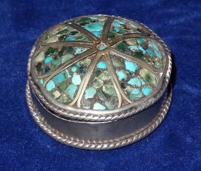 Antique Navajo Chipwork Turquoise & Sterling Silver Pill Box