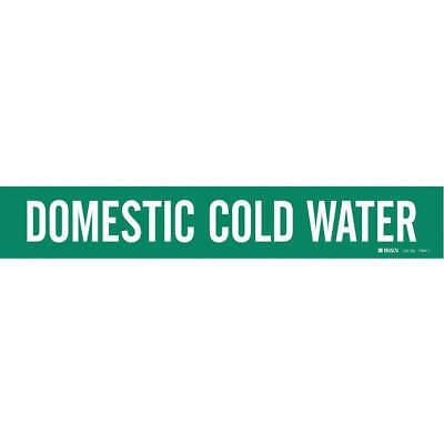 BRADY Vinyl Pipe Marker,Domestic Cold Water,Green, 7084-1