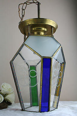 ART DECO french 1930 coloured leaded glass chandelier lantern hexagonal