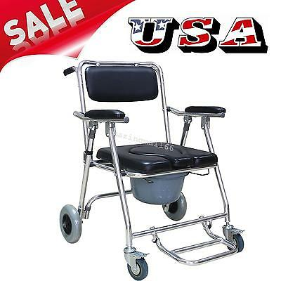 Transport Commode Toilet Bathroom Shower Wheel Chair Potty Disability Aid USA CE