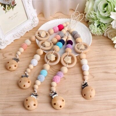 Baby Kids Wooden Clip Chain Beaded Pacifier Holder Nipple Teether Dummy Strap