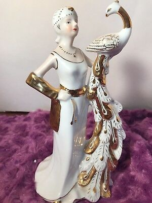 Antique circa 1915 KPM figurine. Woman holding a peacock accented in gold