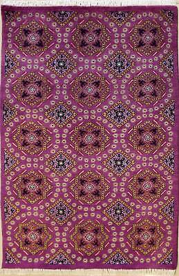 Rugstc 3x5 Senneh Pak Persian Purple Area Rug, Hand-Knotted,Floral with Wool
