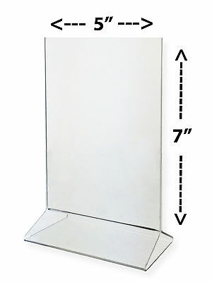 PACK OF 10. 5X7 Crystal clear acrylic sign holder/table tent for display menu
