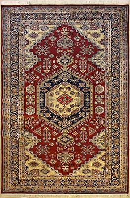Rugstc 6x9 Pak Persian Red Area Rug, Hand-Knotted,Medallion with Silk/Wool Pile