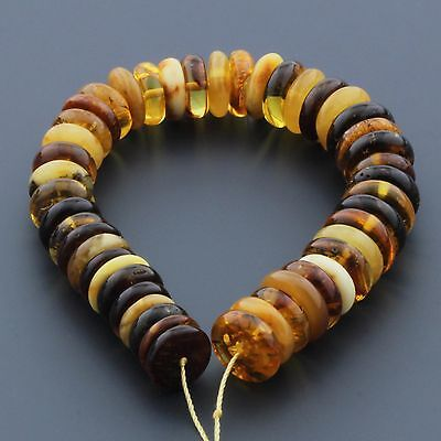 Natural Baltic Amber Loose Beads Strings Set of 1pcs. Shape Tablet 30gr. ST890