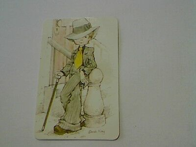 """1 Single Swap/Playing Card - """"Sarah Kay"""" Boy in Suit 20's (Blank Back)"""