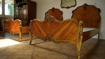 Rare ventage matching twin beds and mirror set, carved French reproduction USA