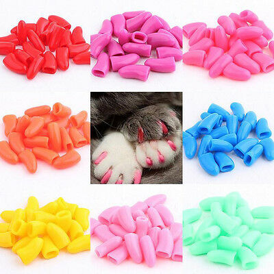 Lovely 20pcs Cat Nail Covers Pet Claw Paws Caps Adhesive Animal Protection S-L