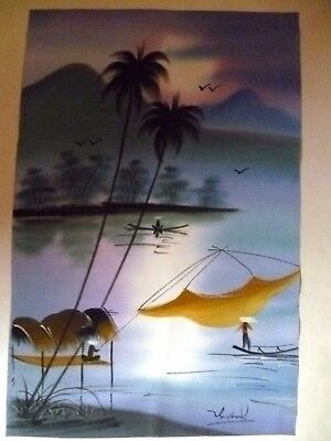 2 X  Chinese/japanese Water People, In Boats  Pastels On Silk,  Signed