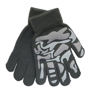 Boys Girls Kids Children's Grey Camouflage Warm Winter Grippy Magic Gloves Xmas