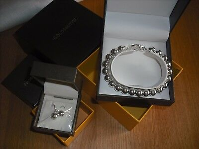 GOLDSMITHS sterling silver (925) ball bracelet and matching earrings, new in box