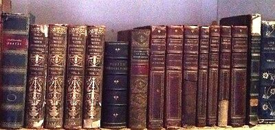 Lot of 16 Decorative Books Antique Vintage Leather Library