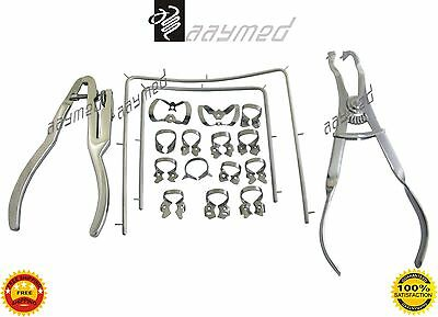 Starter Rubber Dam Kit of 18 Pcs with Frame Punch Clamps Dental Instruments AY 3