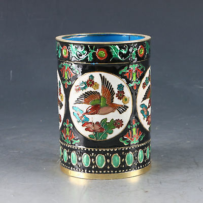 Beautiful China Cloisonne Handwork Carved Bird& Flower Pen Holder zp