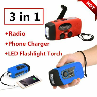 Hot Hand Crank Generator Wind Up Solar USB Rechargeable Light AM/FM/PM Lot BU