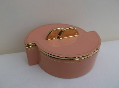 Vintage art deco style pink ceramic trinket box, 1950/60's.